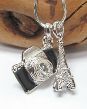 NEW BLACK CRYSTAL CAMERA & EIFFEL TOWER TRAVEL THEME PENDANT NECKLACE WHITE GOLD