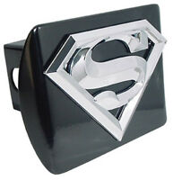 Superman 3D Black Metal Hitch Cover: NEW Super Man Chrome Chrome Trailer Cap MVP