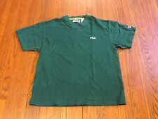 Men's VTG Fila Dark Green V-Neck T-Shirt sz M