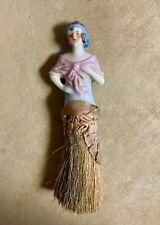 Vintage Flapper Whisk Broom Porcelain Half Doll Crumb Vanity Garment Hat Brush