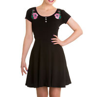 Rose Spooky Eyeball Dress  XS S M Hellbunny Horror Punk 8 10 12 New Black Pink