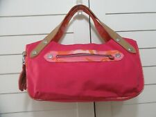 Unique Kipling Hedi Handbag Pink & Orange Nylon Handheld w/Top Handle