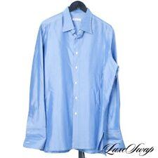 STUNNING Brioni Custom Topaz Pinstripe Silk Feel Button Down French Cuff Shirt