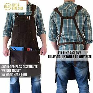 Woodworking Shop Apron 16 oz Waxed Canvas Work Aprons Metal Tape holder Tough