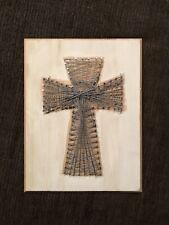 Finished Gray Christian Cross String Art