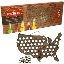 Wood Beer Bottle Cap Map of USA Teak Finish Collection Cave Wall Decoration Gift