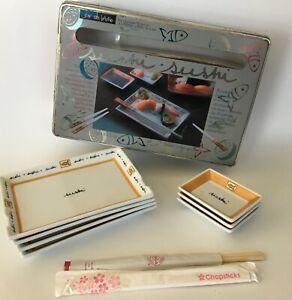 JOIE DE VIVRE FOUR SUSHI 4 Porcelain Plates W/Original Box C1
