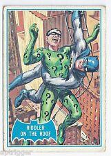 1966 Topps Batman Blue Bat with Bat Cowl Back (37B) Riddler On The Roof