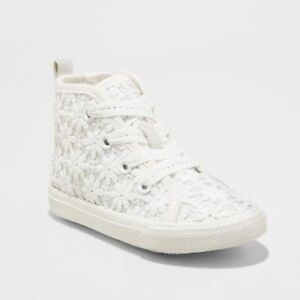 Cat & Jack Toddler Girl Jory High Top Lace Up Sneaker Flowers White