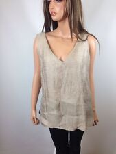 Ellen Tracy V-Neck Metallic Sleeveless Silk Linen Blend Top Blouse Shirt, Sz 3