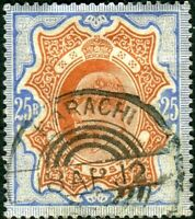 INDIA-1909 25r Brownish Orange & Blue.  FU Telegraphic cancel Sg 147