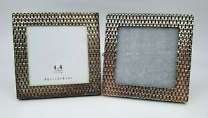 """2 POTTERY BARN Square PICTURE FRAMES Silver-Plated 5"""" x 5"""""""