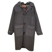 Vintage Woolrich Men's Large Grey Wool Trench Coat Jacket Red Plaid Lining USA