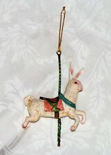 "CAROUSEL RABBIT TREE ORNAMENT, Vintage Glass Rabbit Christmas Tree Decor 6.5"" Ht"