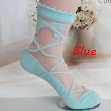 2017 Women Lady Bowknot Sheer Mesh Knit Frill Trim Transparent Ankle Socks Blue