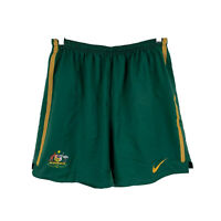 Nike Australia Socceroos Football Shorts Size Large Green Elastic Drawstring