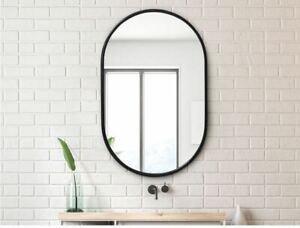 Oval pill shaped black metal framed wall mirror 50cm x 75cm Bathroom or Feature