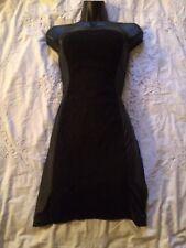 (#1774) DYNY Strapless Style Little Black Dress Lace/Faux Leather Size 4US/UK 8