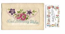 "WW1 Silk Embroidered Postcard ""Fond Birthday Wishes"" Flowers Insert"