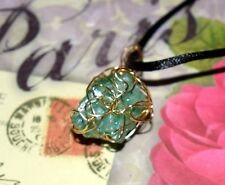 STUNNING HAND-CRAFTED GOLD-WIRE-WRAPPED GREEN QUARTZ PENDANT 22-INCH CHAIN
