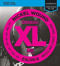 D'Addario EXL170-8 8-String Nickel Wound Bass Guitar Strings, Light, 32-130, Lon