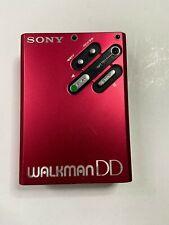Rare SONY Walkman WM-DD RED -RESTORED- Personal Cassette Player 1982 Disc Drive