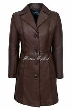 Ladies Leather Long Coat Brown Soft Napa Classic Comfortable  Smart Fit 3457