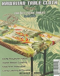 "Hawaiian fitted tablecloth Luau Party 6 foot picnic 72 x30"" center folding table"