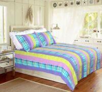 Purple Yellow Striped 100% Cotton Quilt set,Bedspread, Coverlet