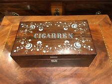 Antik_Holz_Schatulle_Zigarrenkasten_intarsiert_rosewood_Perlmutt um 1880 - 1900