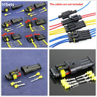 Car Motorcycle 30 Sets 1 2 3 4 5 6 Pin Waterproof Electrical Wire Connector Plug
