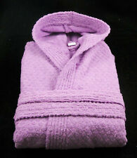 Lilac Hooded Bath robe Dressing Gown 100% Cotton Terry Towelling Slight Seconds