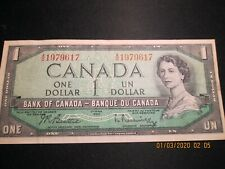 Canada, $1 Banknote, Series of 1954, Signatures of Beatty/Rasminsky, Circulated