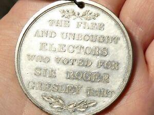 1826 Lichfield Election Sir Roger Gresley Bart Voter's Medal + Ribbon 45mm #EH3
