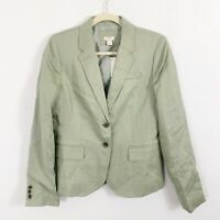 NEW J Crew Linen Blazer Green Size 6 Long Sleeves Two Front Buttons Lined 3735B