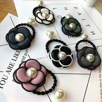 Women Camellia Flower Hair Rope Pearl Elastic Hairband Ponytail Holder Head Band