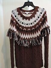 Glamorous Wool Blend Rust Multi-Color Crew-neck Sweater - Size - Medium