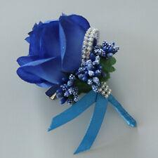 Bride Groom Boutonniere Rose Corsage BlueArtificial Silk Wrist Flower Pin Brooch
