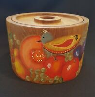 Dansk Teak Ice Bucket Mid Century Modern Hand Painted Folk Art Bird with Fruit