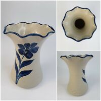 1987 Williamsburg Pottery Vase Salt Glaze Blue Flower Handpainted Artwork