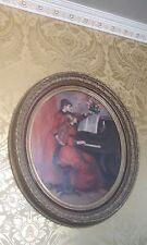 ancien tableau cadre en bois doré médaillon louis xvi peinture Marie Antoinette