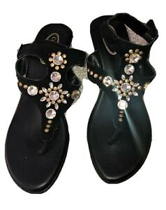 Ladies Callisto Of California Jewelled Black Jewel Sandals - Size 39