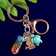 Titanium Crystal Hexagon Silver Owl&Turquoise Tortoise& Keyring Keychain Gifts