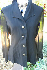 BLACK VINTAGE BLOUSE, VICTORIAN STYLE, GOTHIC, STEAMPUNK, SIZE 12, 38, COSPLAY
