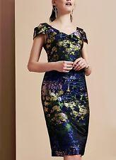 Maggy London Waterlily Jacquard Cold Shoulder Midi Sheath Dress  ( size 16)