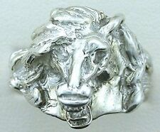 Horse Head Pure Sterling Silver Casted Ring Size 7 PSR238