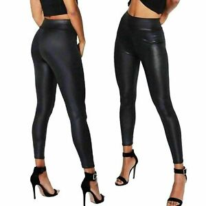 WOMEN Wet Look highwaist PU PVC Shiny Paper Faux Leather Look Trousers Leggings
