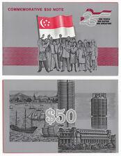 SINGAPORE 50 Dollars Commemorative Polymer 1990 P-30 UNC Uncirculated w/Folder