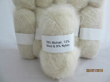 Mohair Wool Yarn 10 x 50g Balls Cream 78% Mohair Double Knitting