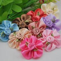 10pcs Ribbon bows Flowers Party Crafts wedding appliques DIY craft E151